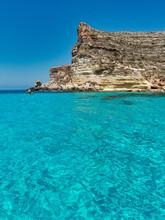 Blue Sea And Blue Sky Rocks Lampedusa Rabbits Beach Sicily Italy Meditherranean Sea