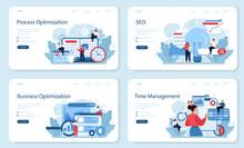Process Optimization Web Banner Or Landing Page Set. Idea Of Business