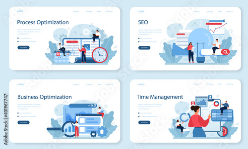 Process optimization web banner or landing page set. Idea of business