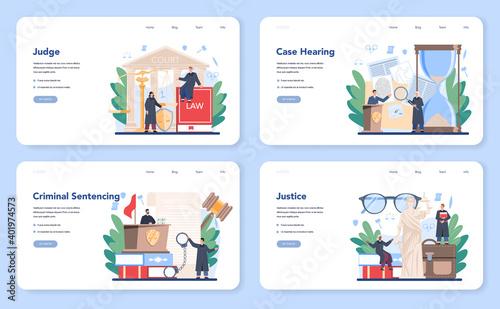Canvas Print Judge web banner or landing page set