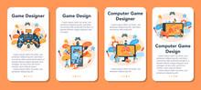 Game Designer Mobile Application Banner Set. Creative Process