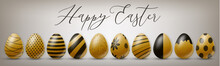 Happy Easter Holiday Banner Or Newsletter Header. Golden Eggs Set Width Black Ornament. Vector Illustration With Lettering.