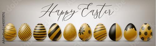 Billede på lærred Happy Easter holiday banner or newsletter header