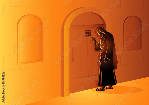 Obraz Jesus Knocking on the Door - fototapety do salonu