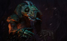 Digital 3d Illustration Of An Alien Bug Creature In An Abstract Environment - Fantasy Sci-fi Painting