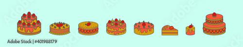 Valokuva set of strawberry shortcake cartoon icon design template with various models