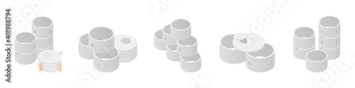 Fototapeta Concrete sewerage and septic tanks well element set, isolated on a white background. Stacks of different types concrete ring isometric icon. Building materials. Vector illustration. 3D flat style. obraz
