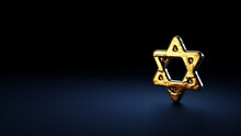3d Rendering Symbol Of Star Of David Wrapped In Gold Foil On Dark Blue Background