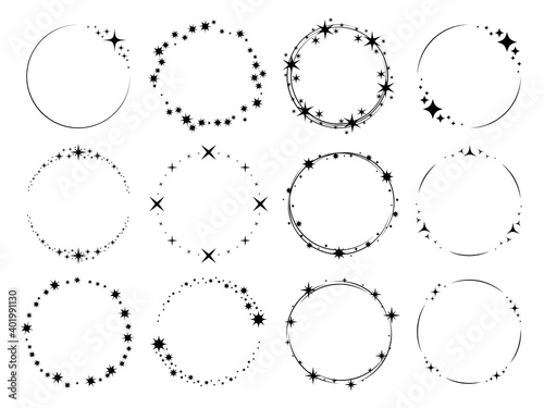 Fototapeta Stardust sparks frames. Silhouette stars circular patterns, magic holiday party decor, round glitter effect particles with copy space, wedding or christmas templates vector isolated set obraz