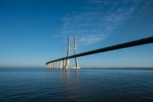 A Beautiful View Of Vasco Da Gama Bridge In Lisbon, Portugal