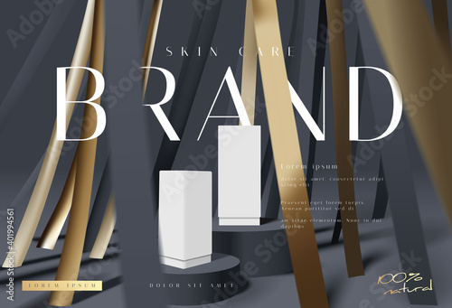 Fototapeta Abstract luxury black and gold cosmetic product podium presentation mockup. elegant fashion style product sale placement template vector obraz