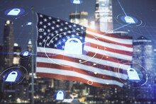 Virtual Creative Lock Illustration With Microcircuit On USA Flag And Blurry Skyscrapers Background, Cyber Security Concept. Multiexposure