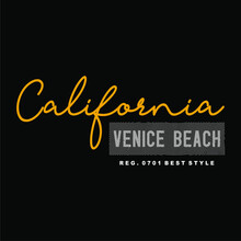 CALIVORNIA, VENICE BEACH, WORDS DESIGN, T-SHIRT DESIGN, TYPOGRAPHY, SCREEN PRINTING, BLACK CLOTH, YELLOW AND WHITE TEXT.