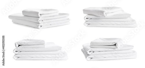 Obraz Set with stacks of clean bed linen on white background. Banner design - fototapety do salonu