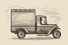 Retro Farm Truck Sketch. Farming Vintage Vector Illustration