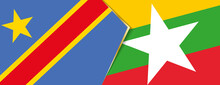Democratic Republic Of The Congo And Myanmar Flags, Two Vector Flags.
