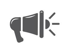 Megaphone Gray Line Icon. Loudspeaker, Speaker, Alert, Announcement, Horn Symbol.