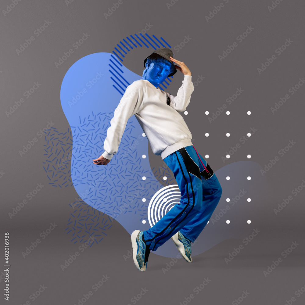 Fototapeta Celebrity, weightless. Stylish man headed by bright statue on grey background. Negative space to insert your text. Modern design. Contemporary colorful and conceptual bright art collage.