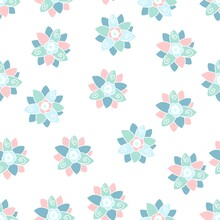Pink And Blue Swirly Flowers Pattern