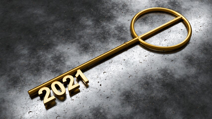 Panel Szklany Boks Happy New Year Background. Key with 2021. 3D illustration