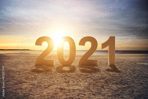 Fototapeta Happy New Year Background. Start in 2021. 3D illustration obraz