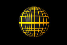 3d Abstract Figure Sphere Yellow Grid Texture