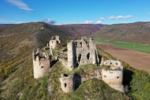 Aerial Autumn View Of The Castle In The Village Of Turna Nad Bodvou In Slovakia