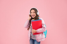 Feel The Song. Happy Child Listen To Music Playing In Headphones. Music School. Musical Education. Modern Technology. Picking Up The Tune