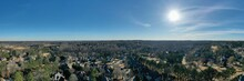Panoramic Aerial View Of An Upscale Subdivision In Suburbs Of Atlanta City In USA