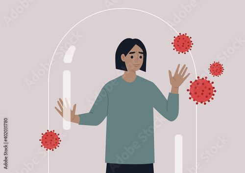 Fototapeta Social distancing concept, a young male worried character leaning on the glass dome wall, coronavirus outbreak obraz