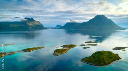 Fotografie, Obraz Travel concept with aerial panorama of Norwegian fiords with sea and mountains