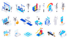 Internet 5G Technology Isolated Icons