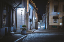 An Old Medieval Street With Classicist Houses In The Night
