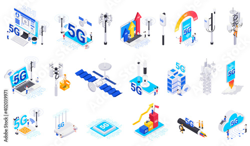 Fotografiet Internet 5G Technology Isolated Icons
