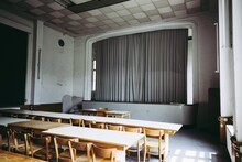 Abandoned School With Stage, Theatre, Lost, Empty, Closed