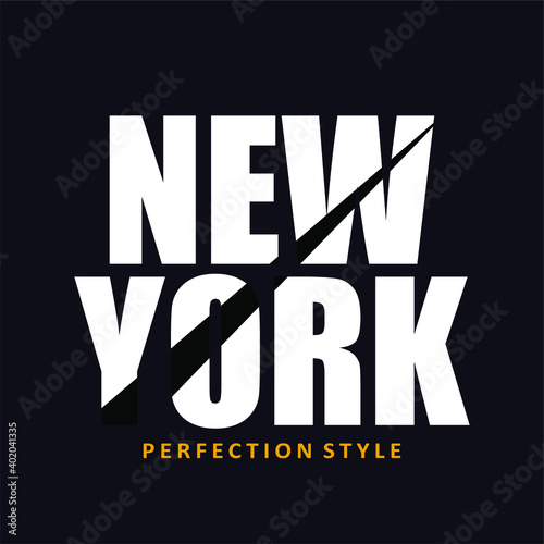 NEW YORK, design words on dark blue background, white text and a little yellow, typography, t shirt.