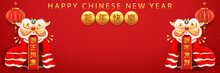 Chinese Traditional Template Of Chinese Happy New Year 2021 On Red Background As Year Of Ox, Healthiness, Lucky And Infinity Concept. (The Chinese Letter Is Mean Happy New Year).