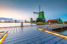 Traditional Dutch Windmills At Dusk, Zaanse Schans, Amsterdam
