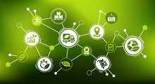 Green Logistics And Supply Chain Vector Illustration. Concept With Connected Icons Related To Sustainable Transport, Eco-friendly Distribution Or Shipping, Smart Solutions For Cargo & Import / Export.