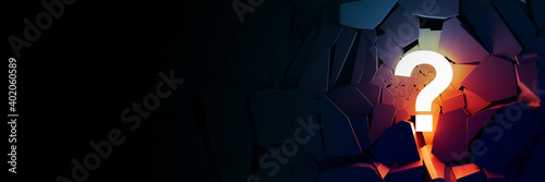 Fototapeta Lit question mark, business concepts, original 3d rendering obraz