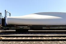 Wind Turbine Blade Being Transported Via Train