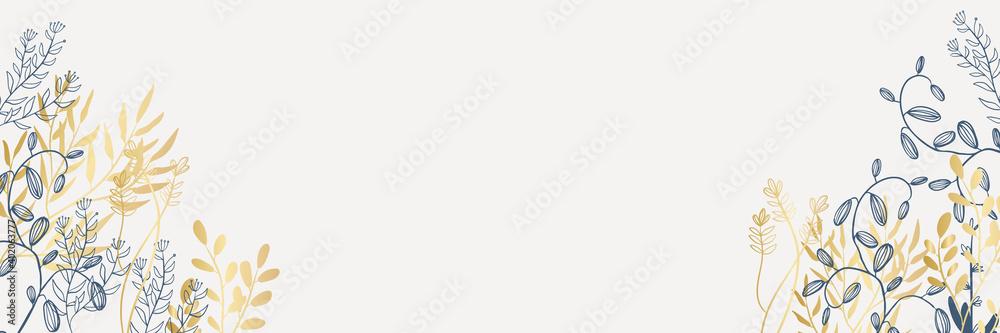 Fototapeta Delicate border of gold blue flowers, forest green leaves, white background. Wedding invitation banner frame. Rose, peony, fern. Vector illustration. Floral arrangement. Design template greeting card