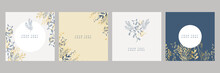 Set Of Floral Universal Artistic Templates With Blue Gold Pastel Color. Good For Greeting Cards, Invitations, Flyers And Other Graphic Design. Square Floral Greeting Card