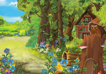 Cartoon Scene With Owl With Wooden Farm House In Forest Illustration