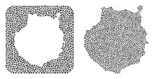 Map Of Gran Canaria Collage Designed With Spheric Dots And Cut Out Shape. Vector Map Of Gran Canaria Mosaic Of Spheric Dots In Variable Sizes And Silver Shades. Created For Abstract Agitprop.