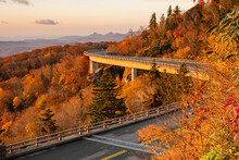 Brown And Orange Autumn Sunrise Over Linn Cove Viaduct