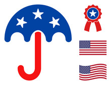 Umbrella Icon In Blue And Red Colors With Stars. Umbrella Illustration Style Uses American Official Colors Of Democratic And Republican Political Parties, And Star Shapes. Simple Umbrella Vector Sign,