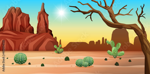 Canvas Desert with rock mountains and cactus landscape at day scene