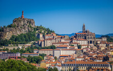 A View Of The Statue Of Our Lady Of France And The Cathedral Of Le Puy En Velay Taken From St Joseph Sanctuary In Espaly St Marcel (Auvergne, France)
