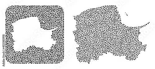 Map of Pomerania Province mosaic created with spheric items and carved shape. Vector map of Pomerania Province mosaic of spheric dots in various sizes and silver color tinges.